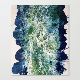 The Stream - blue green white acrylic paint pour Canvas Print