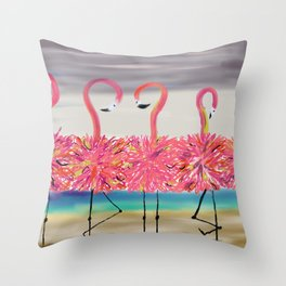 Who's the Mother Flamingo? #Watercolor Throw Pillow