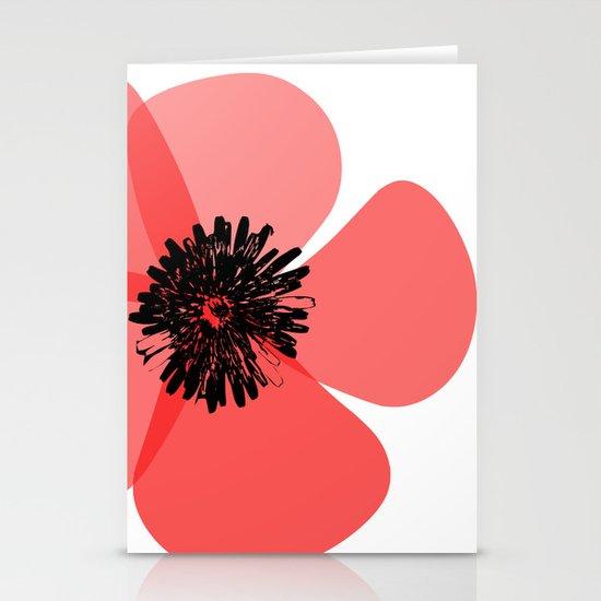 Red Poppy Flower Stationery Cards