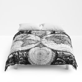 Vintage Map of The World (1685) Black & White Comforters