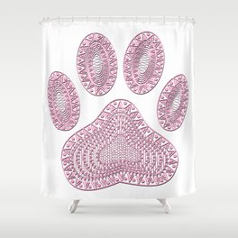 Abstract Pink Ink Dog Paw Print Shower Curtain