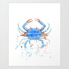 Watercolor blue crab paint splatter Art Print