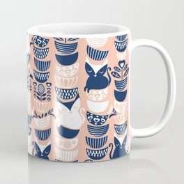 Swedish folk cats V // flesh background Coffee Mug