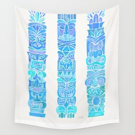 Tiki Totems – Turquoise Palette Wall Tapestry