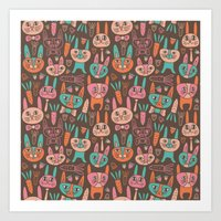 bunnies Art Prints featuring Bunnies by Olya Yang