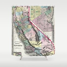 1872 Map of California and San Francisco Shower Curtain
