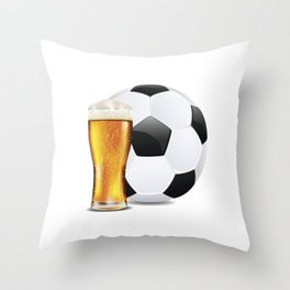 Beer and Soccer Ball Throw Pillow