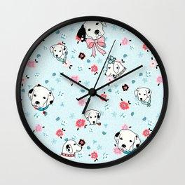 Dalmatian Floral Light Blue Wall Clock