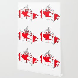 Canada Map with Canadian Flag Wallpaper