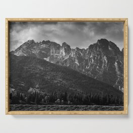 Mountain Landscape in Black and White Serving Tray