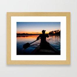 Across the lake at Sunset Fine Art Print Framed Art Print