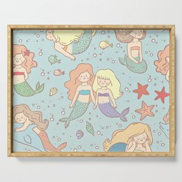 Cute Vintage Style Bff Mermaids Seamless Pattern, Blue Serving Tray