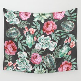 Pink Roses and Succulent Cactus Pattern on Black Wall Tapestry