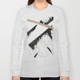 Sassy: a minimal abstract mixed-media piece in black, white, and gold by Alyssa Hamilton Art Long Sleeve T-shirt