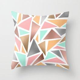 Modern Rose Gold Mint Metallic Triangles Geometric Throw Pillow
