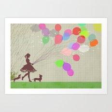 A walk after the rain Art Print