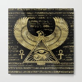 Egyptian Eye of Horus - Wadjet Gold and Black Metal Print