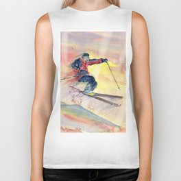 Colorful Skiing Art Biker Tank