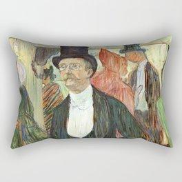 """Henri de Toulouse-Lautrec """"Monsieur Henri Fourcade au Bal de l'Opéra"""" Rectangular Pillow"""