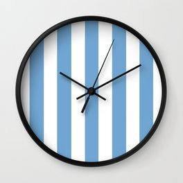 Iceberg turquoise - solid color - white vertical lines pattern Wall Clock