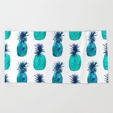 Mint pineapples || watercolor Beach Towel