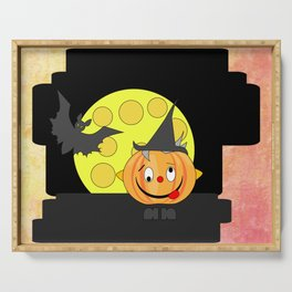 Funny silly pumpkin head with bat and moon Serving Tray
