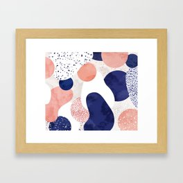Terrazzo galaxy pink blue white Framed Art Print
