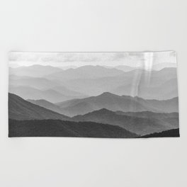 Forest Fade - Black and White Landscape Nature Photography Beach Towel