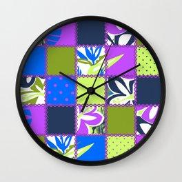 Pokii Hawaiian Hibiscus Flower and Patchwork Designs Wall Clock