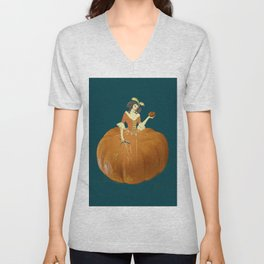 Lady Pumpkin for Halloween Unisex V-Neck