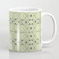 lime green Mugs featuring Lime Green Aztec by Pom Graphic Design