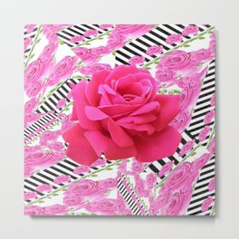 MODERN ABSTRACT CERISE PINK ROSE GARDEN  ART Metal Print