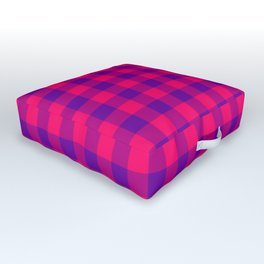 Modern Bright Pink and Purple Gingham Plaid Outdoor Floor Cushion