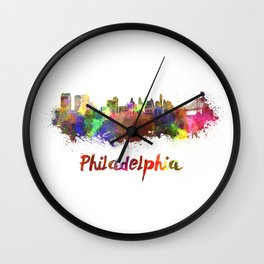 Philadelphia skyline in watercolor Wall Clock