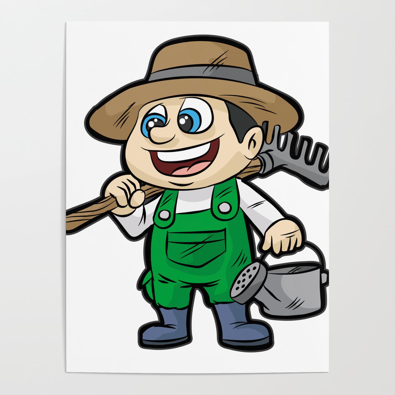 Happy Gardener With Tools Gardening Cartoon Gift Poster By Moonpie90 Society6