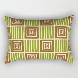Retro Mid Century Modern Check Pattern 753 Olive and Brown Rectangular Pillow