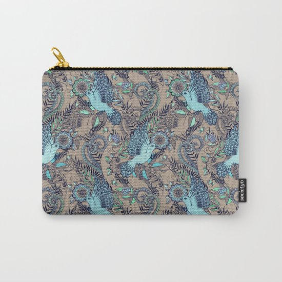 Flight of Fancy - aqua, mint, taupe Carry-All Pouch
