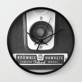 Old camera by kodak close-up black and white Wall Clock