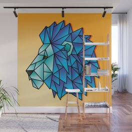 Triangular Abstract Lion in Shades of Blue Wall Mural