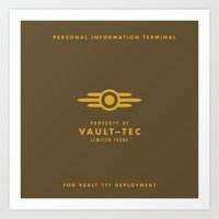 fallout 3 Art Prints featuring Fallout 4 Vault-Tec by Run James