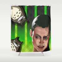 ripley Shower Curtains featuring In space no one can hear you scream by milanova
