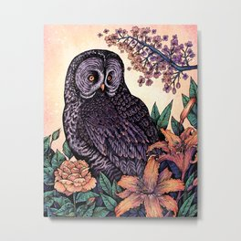 Great Grey Owl At Sunset Metal Print