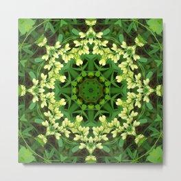 Cream and green botanical mandala - Baptisia flowers 2 Metal Print