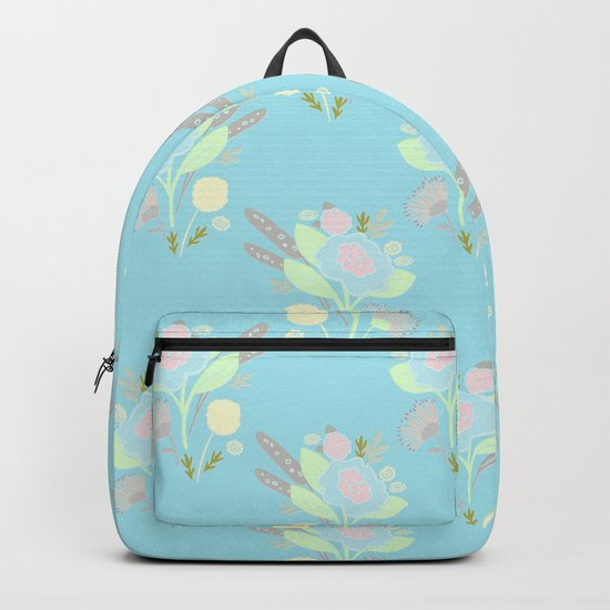 Cute Turquoise Pastel Doodle Flower Pattern Backpack