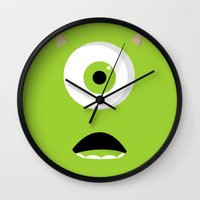 mike wrobel Wall Clocks featuring Mike by Bearded Manatee