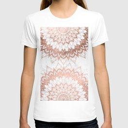Modern chic rose gold floral mandala illustration on trendy white marble T-shirt