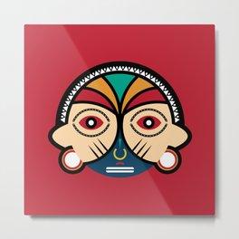 Round Tribal Mask Metal Print