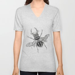 Dotwork Flying Beetle Illustration Unisex V-Neck