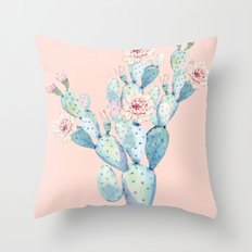 Rose Desert Cactus on Pink Throw Pillow