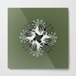 Celtic or Viking Deer Pattern - Green Metal Print